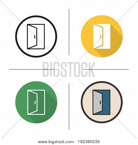 Open door icon. Flat design, linear and color styles. Building exit. Doorway. Isolated vector illustrations