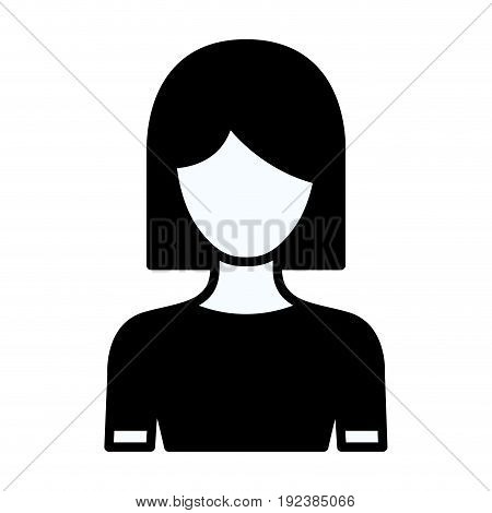 black silhouette thick contour of faceless half body woman with straight short hairstyle vector illustration