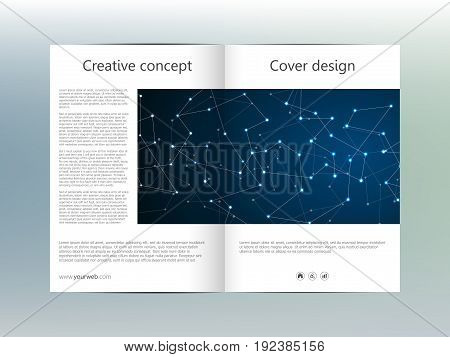 bi fold brochure template layout, flyer, cover, annual report, magazine in A4 size. Structure of molecular particles and atom. Polygonal abstract background. Vector illustration