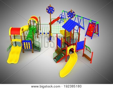Children's Play Complex 3D Render On Gray Background