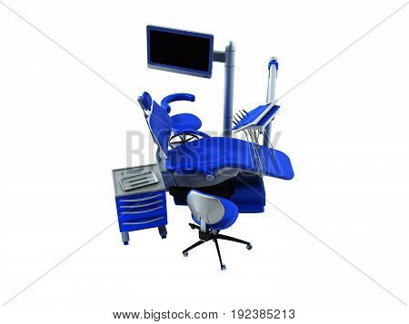 Dental Chair Blue 3D Render On White Background No Shadow