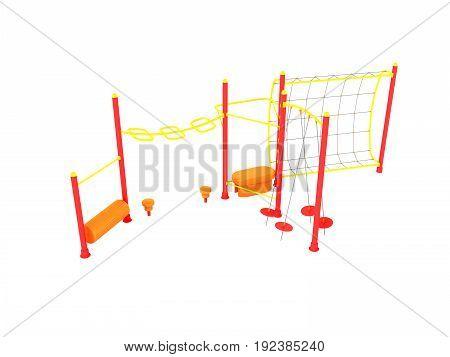 Playground 3D Render On White Background No Shadow