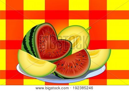 watermelon and melon cut into slices on a white plate