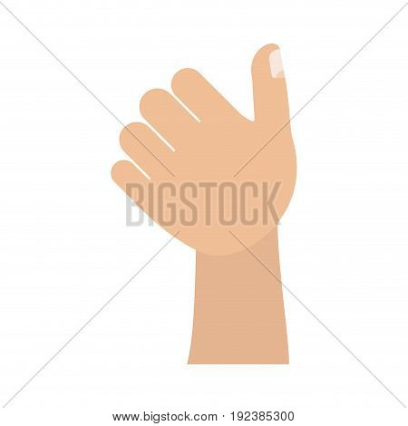 colorful silhouette image of left hand thumb up vector illustration