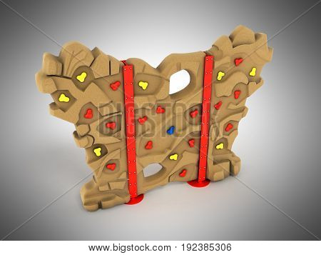 Children's Wall For Climbers 3D Render On A Gray Background