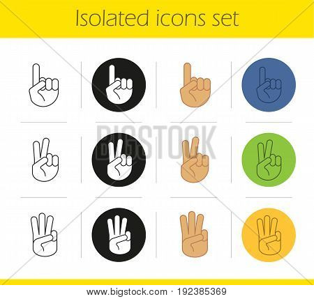 Hand gestures icons set. Linear, black and color styles. One, two, three fingers up. Isolated vector illustrations