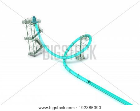 Water Park Attraction Blue 3D Render On White Background
