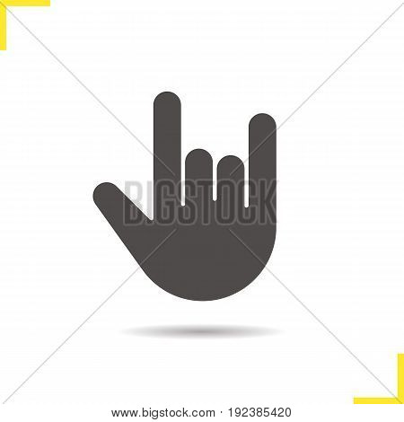 Heavy metal gesture glyph icon. Drop shadow silhouette symbol. Devil horn and cool hand gesture. Negative space. Vector isolated illustration