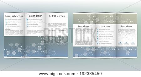 Tri-fold brochure template with hexagonal background. Vector illustration