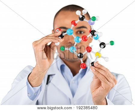 Student molecule white isolated shape artificial path