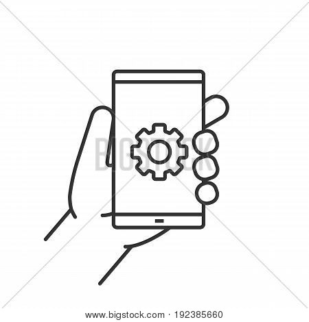 Hand holding smartphone linear icon. Thin line illustration. Smart phone settings contour symbol. Vector isolated outline drawing