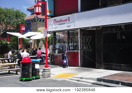 May 22 2017. Los Angeles California. Los Angeles Chinatown's only hamburger shoppe serving many customers in sunny California.