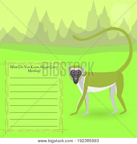 African Green Monkey Against Symplistic Nature Background and Poster with Space for Interesting Facts about this Animal. Educational Card for Childrens Schooling. Vector EPS 10