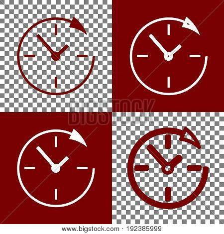Service and support for customers around the clock and 24 hours. Vector. Bordo and white icons and line icons on chess board with transparent background.