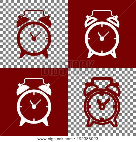 Alarm clock sign. Vector. Bordo and white icons and line icons on chess board with transparent background.