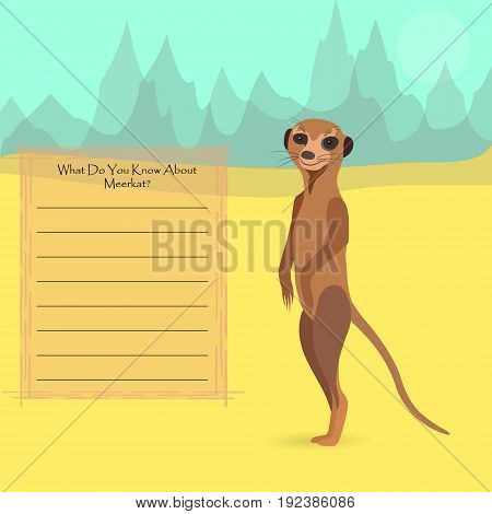 African Meerkat Against Symplistic Nature Background and Poster with Space for Interesting Facts about this Animal. Educational Card for Childrens Schooling. Vector EPS 10