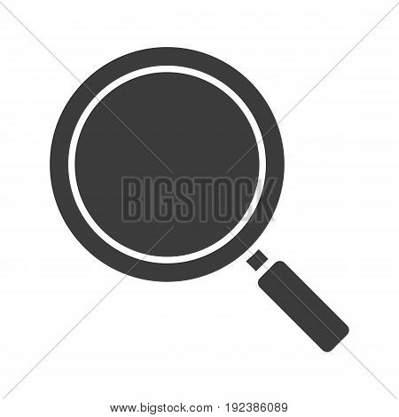 Search glyph icon. Silhouette symbol. Magnifying glass. Negative space. Vector isolated illustration