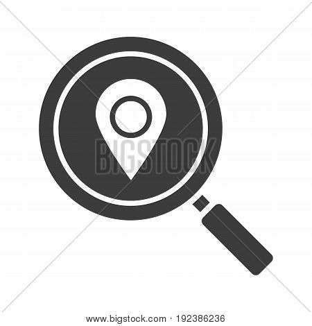 Location search glyph icon. Silhouette symbol. Magnifying glass with map pinpoint. Negative space. Vector isolated illustration