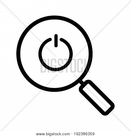 Magnifying glass with turn off button linear icon. Thin line illustration. Contour symbol. Vector isolated outline drawing
