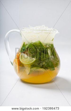 Homemade Lemonade In A Glass Jug. Refreshing Drink. A Refreshing Drink