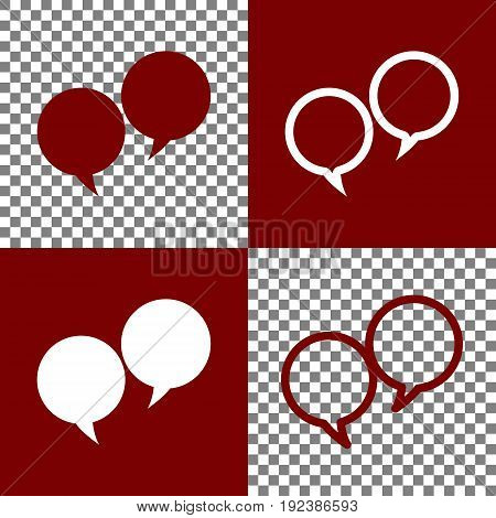 Two speech bubble sign. Vector. Bordo and white icons and line icons on chess board with transparent background.
