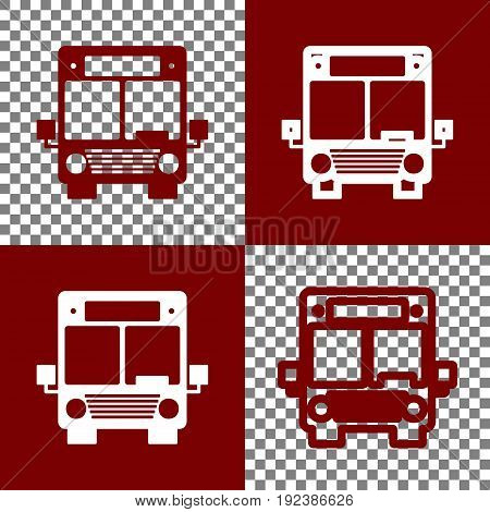 Bus sign illustration. Vector. Bordo and white icons and line icons on chess board with transparent background.