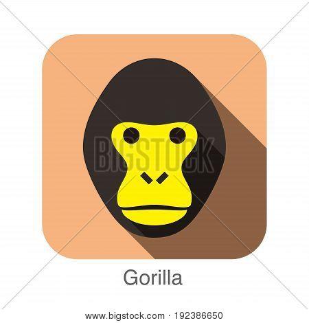 Gorilla animal face icon design, vector illustration