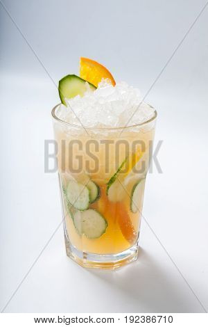 Glass With Orange Cucumber Refreshing Drink, Rustic Style, Selective Focus