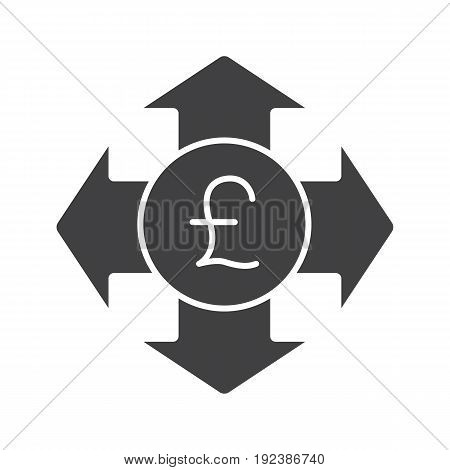 Money spending glyph icon. Expanses silhouette symbol. Great Britain pound with all direction arrows. Negative space. Vector isolated illustration
