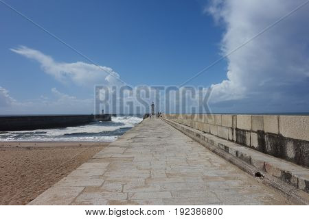 Porto pier with lighthouse and walk image