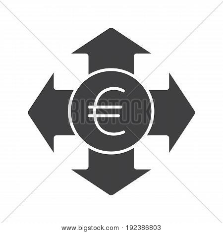 Money spending glyph icon. Silhouette symbol. Euro with all direction arrows. Expanses. Negative space. Vector isolated illustration