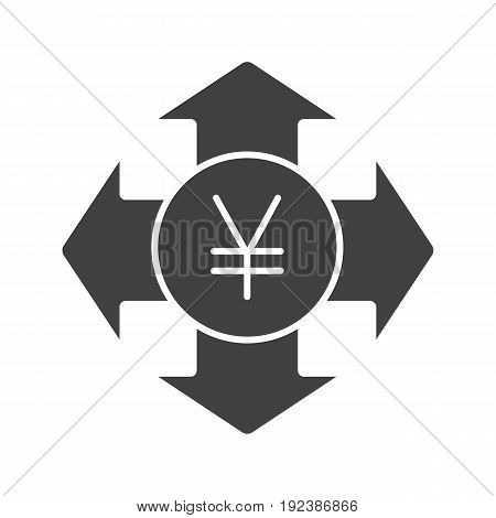 Money spending glyph icon. Expanses silhouette symbol. Japanese yen with all direction arrows. Negative space. Vector isolated illustration
