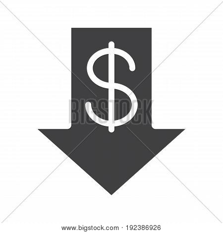 Dollar rate falling glyph icon. Silhouette symbol. USA dollar with down arrow. Negative space. Vector isolated illustration
