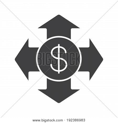 Money spending glyph icon. Expanses silhouette symbol. USA dollar with all direction arrows. Negative space. Vector isolated illustration
