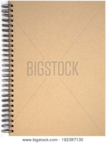 Front page of spiral bound note pad isolated isolated on white background.