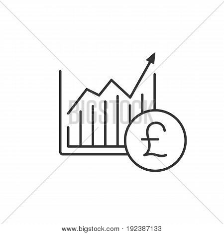 Market growth chart linear icon. Thin line illustration. Statistics diagram with pound sign contour symbol. Vector isolated outline drawing