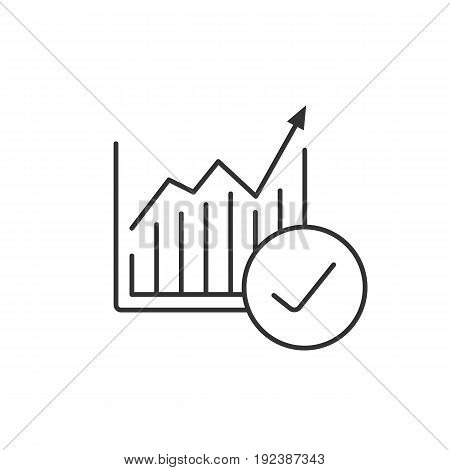 Market growth chart linear icon. Thin line illustration. Statistics diagram with tick mark contour symbol. Vector isolated outline drawing