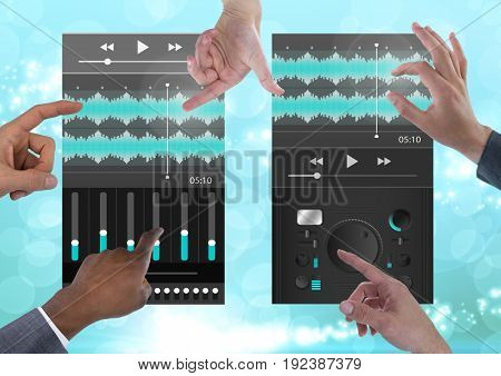 Digital composite of Many Hands Touching Collaborating Sound Music and Audio production engineering equalizer App Interfa
