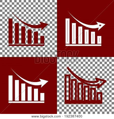 Declining graph sign. Vector. Bordo and white icons and line icons on chess board with transparent background.