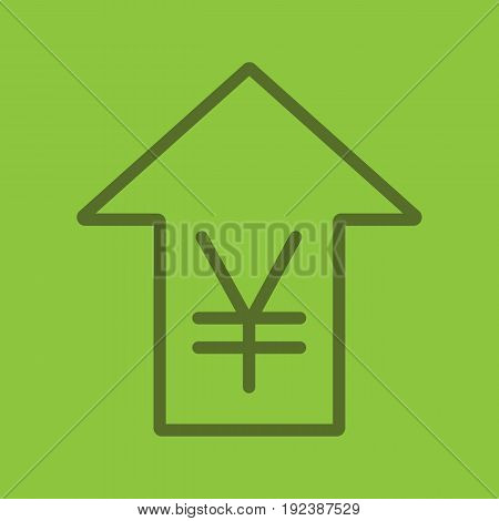 Yen rate rising color linear icon. China and Japan currency with up arrow. Thin line outline symbols on color background. Vector illustration