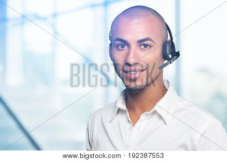 Young male man service phone manager white