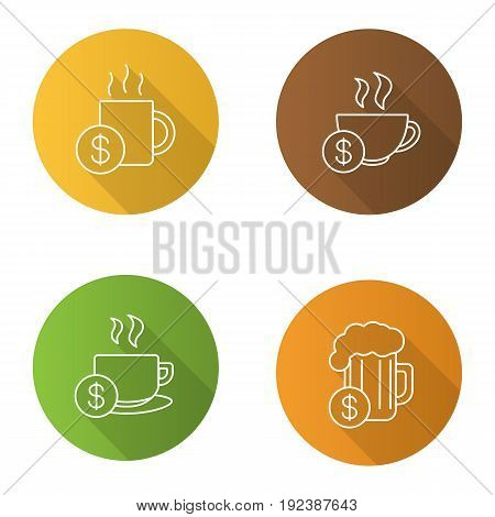 Buy drinks flat linear long shadow icons set. Beer glass, hot steaming mugs price with dollar sign. Vector outline illustration