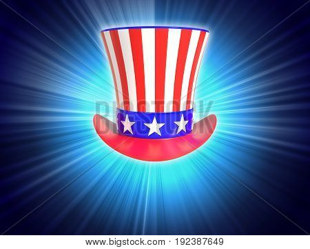Patriotic Uncle Sam Hat 4th of July on blue light background with copy space.