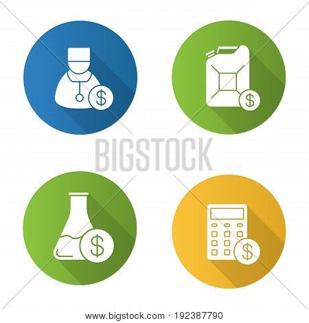 Services flat design long shadow icons set. Petrol trade, research price, doctor service, financial planning. Vector silhouette illustration