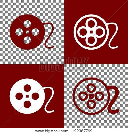 Film circular sign. Vector. Bordo and white icons and line icons on chess board with transparent background.