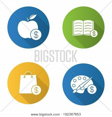 Services flat design long shadow icons set. Shopping. Buy fruit, books, art products. Vector silhouette illustration