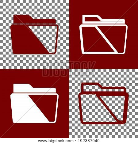 Folder sign illustration. Vector. Bordo and white icons and line icons on chess board with transparent background.