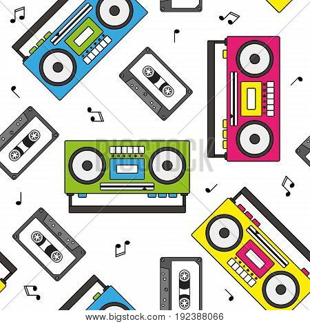 Retro cassette and radio recorder seamless pattern colorful vector