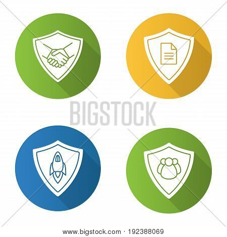 Protection shields flat design long shadow icons set. Safe bargain, personal documents, startup projects, people protection. Vector silhouette illustration