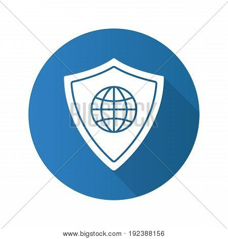 Network security flat design long shadow glyph icon. Protection shield with globe model. Vector silhouette illustration